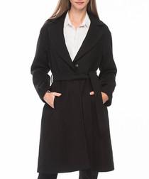 Black knee length wrap coat