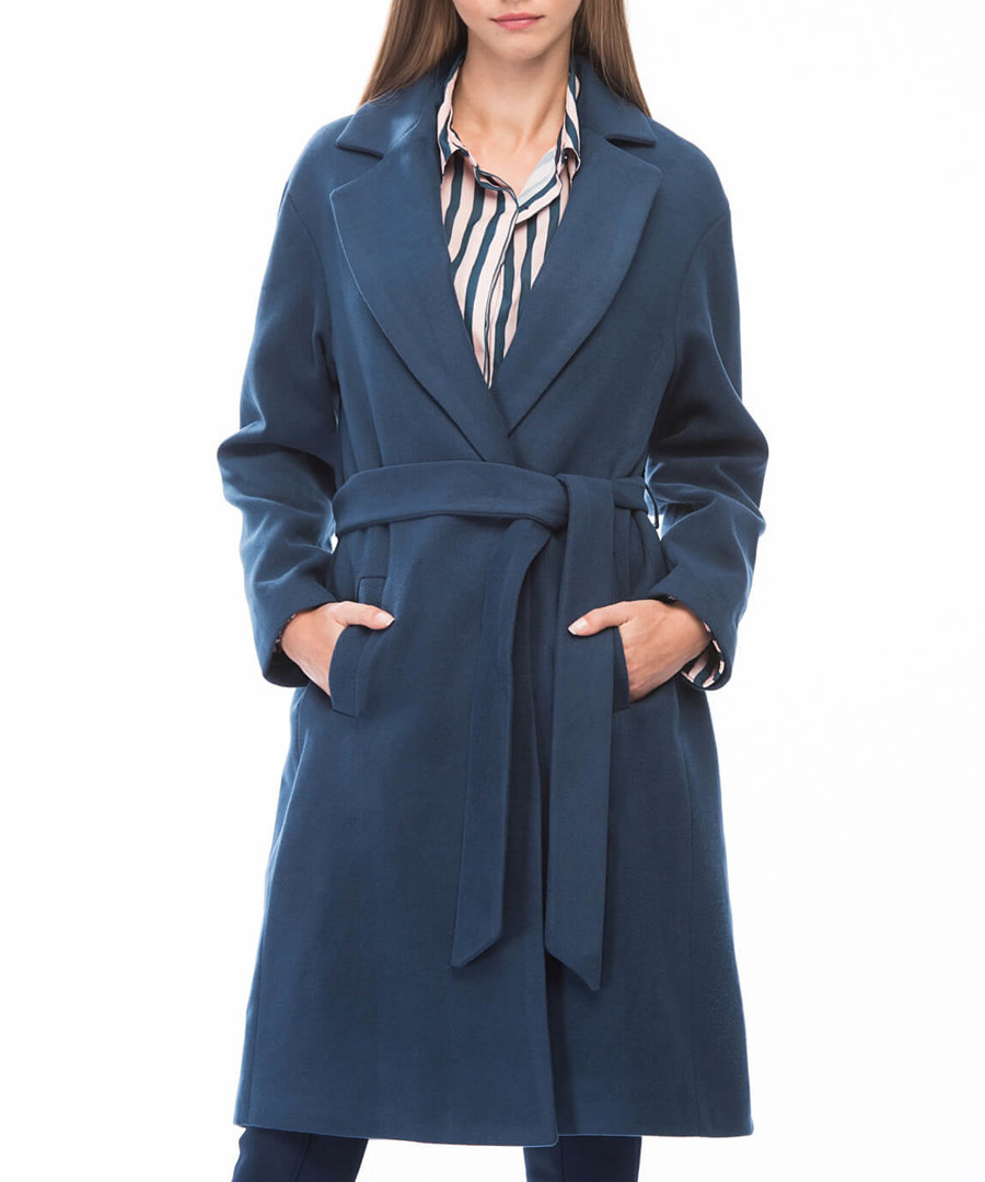 Blue knee length wrap coat Sale - dewberry