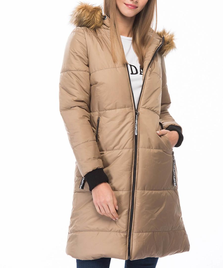 Beige knee length hooded puffer coat Sale - Dewberry