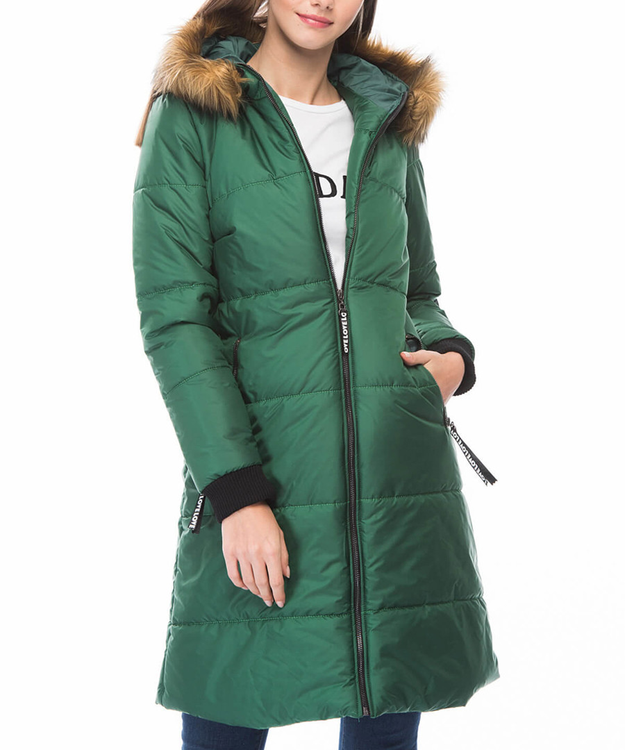 Green knee length hooded puffer coat Sale - Dewberry