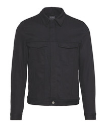 Black cotton collared jacket