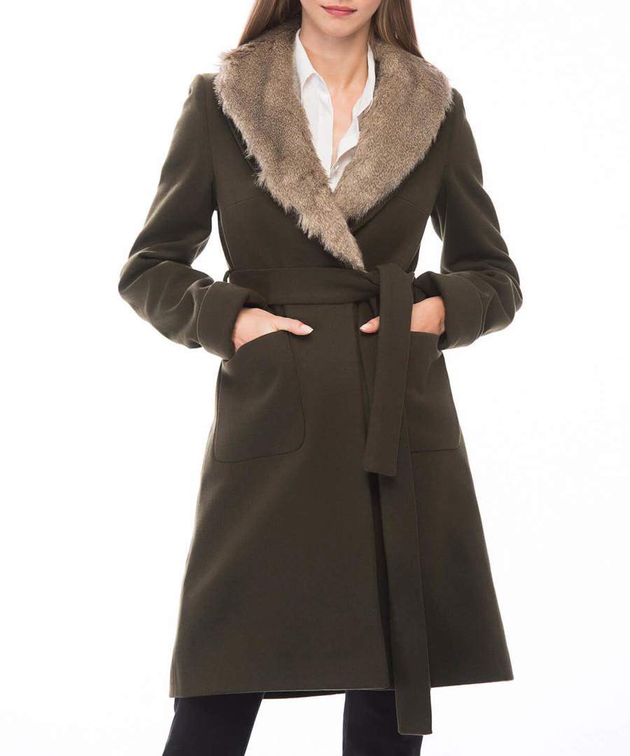 Khaki knee length detail coat Sale - Dewberry