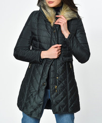 Green quilted detail puffer jacket