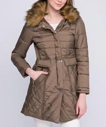 Beige quilted pocket puffer jacket