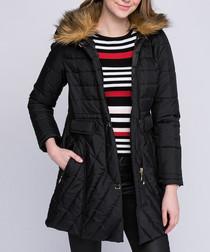 Black quilted pocket puffer jacket