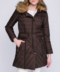 Brown quilted pocket puffer jacket