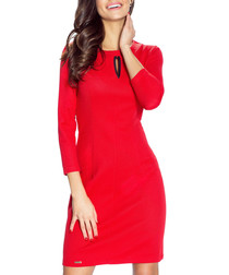 Red 3/4 sleeve knee length dress