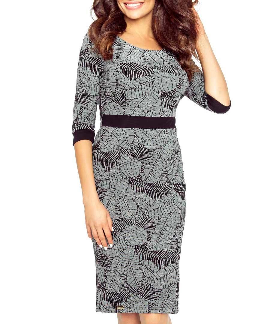 Grey leaf print midi dress Sale - bergamo