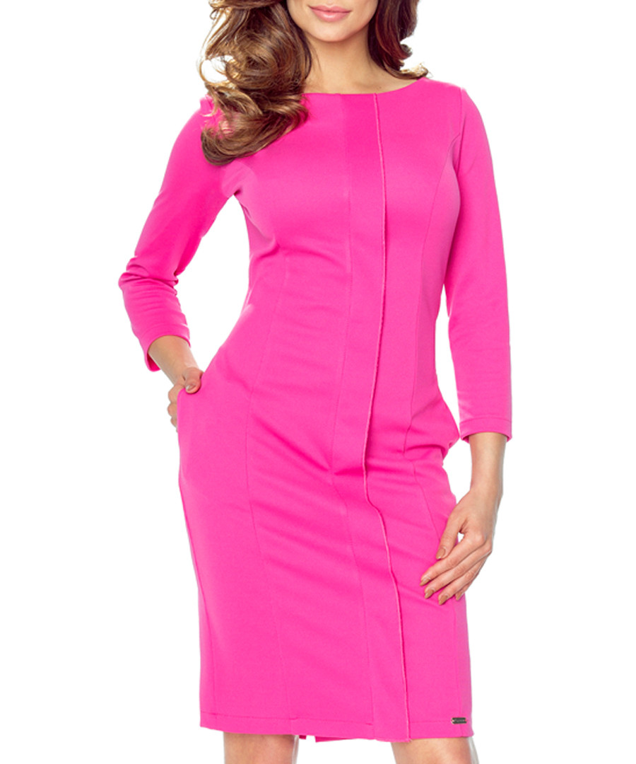 Pink pleat long-sleeve midi dress Sale - bergamo