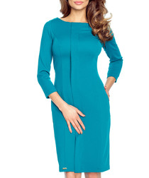Green long sleeve knee length dress