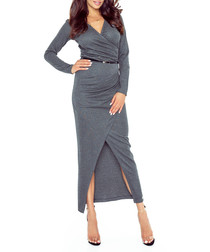 Dark grey wrap midi dress