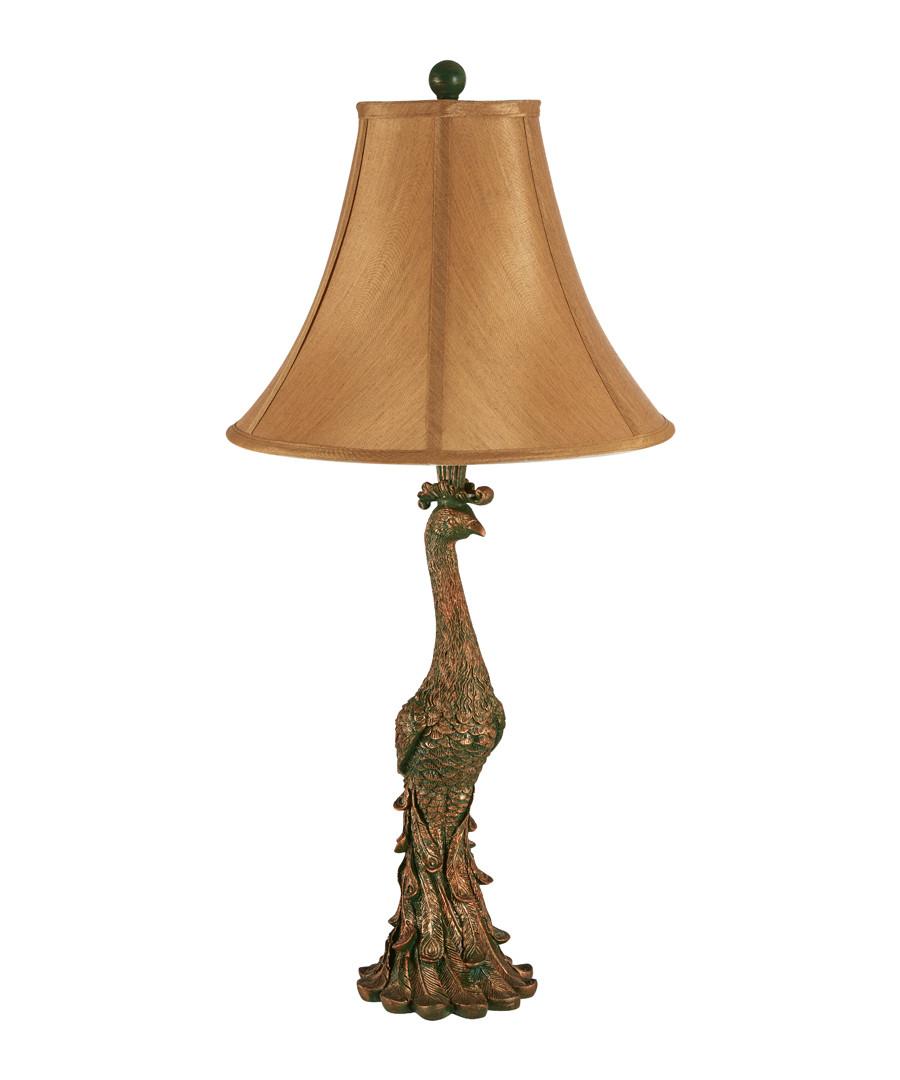 Peacock bronze-tone & beige table lamp Sale - premier