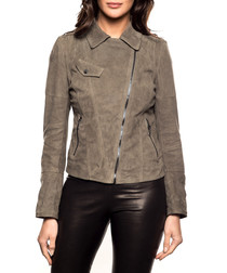 Women's grey leather jacket