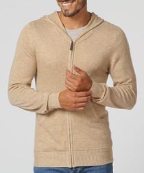 Men's camel cashmere & silk blend hoodie