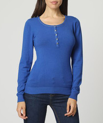 Blue cashmere long sleeve top