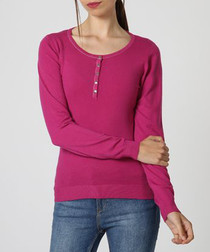 Cherry cashmere long sleeve top