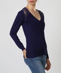 Blue cashmere V-neck jumper