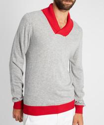 Men's grey & red cashmere v-neck jumper