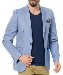 Sky blue paisley-lined blazer