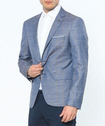 Blue linen blend two button blazer