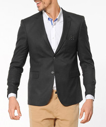 Black two button flap pocket blazer