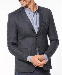 Dark grey two button flap pocket blazer