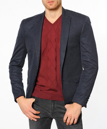 Dark blue flap pocket blazer