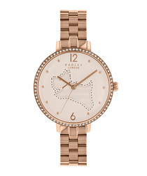 On The Run rose gold-tone link watch