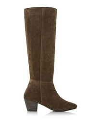Tarry khaki suede knee-high boots