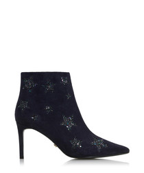 Orbit navy suede star print ankle boots