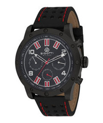 Black & red leather watch