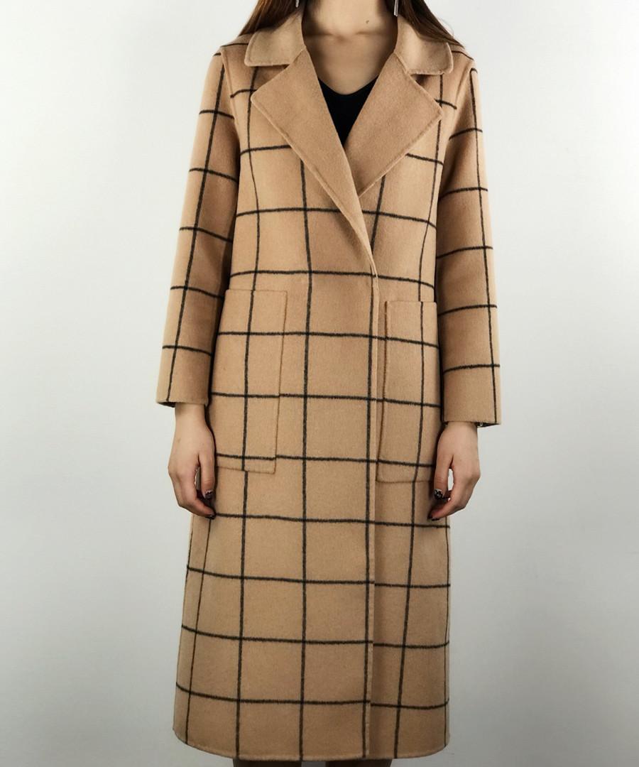 Camel & black cell wrap coat Sale - Enying