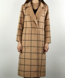 Camel & black cell wrap coat