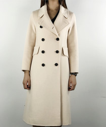 Dark white straight wool blend coat