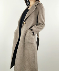 Coffee one-button wool blend coat