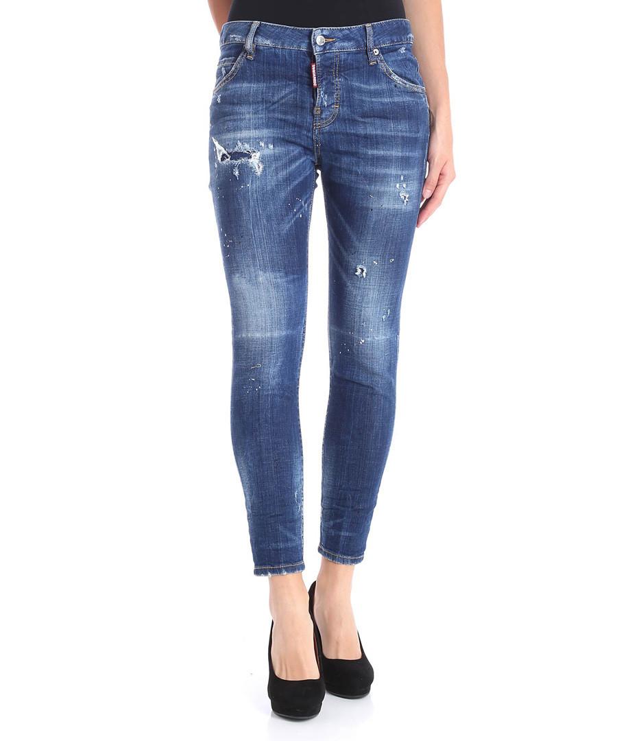 Blue cotton blend distressed slim jeans Sale - dsquared2