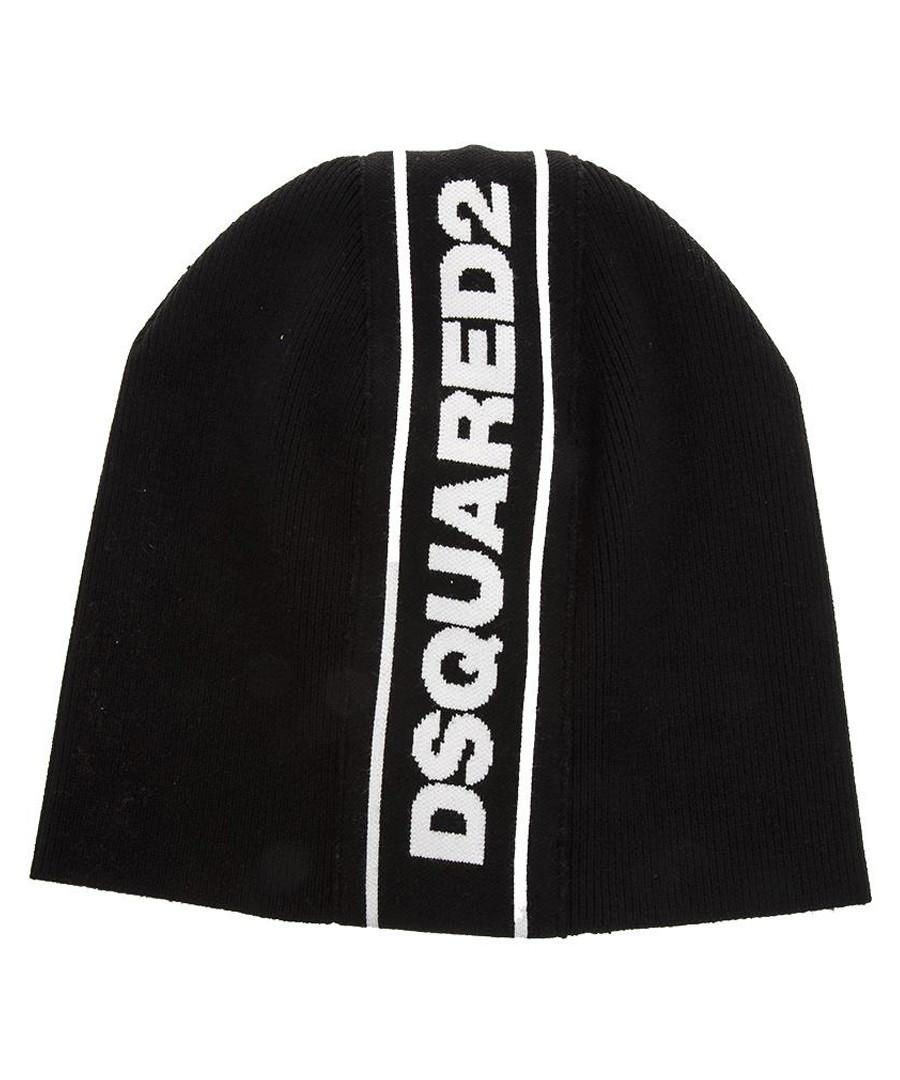 Black wool logo stripe beanie hat Sale - dsquared