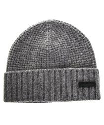 Men's grey wool & cashmere beanie hat