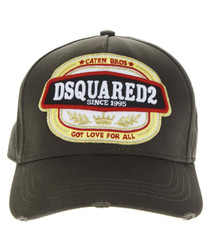 Men's black cotton logo baseball cap
