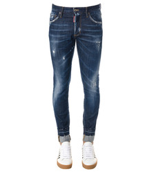 Men's denim cotton distressed jeans