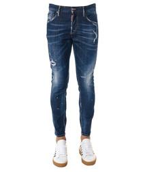 Men's blue cotton distressed jeans