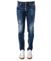 Blue cotton blend slim jeans