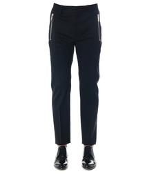 Black cotton blend zip detail trousers