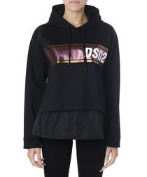 Black cotton blend logo stripe hoodie