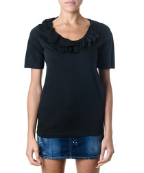 Black cotton ruffle neck T-shirt