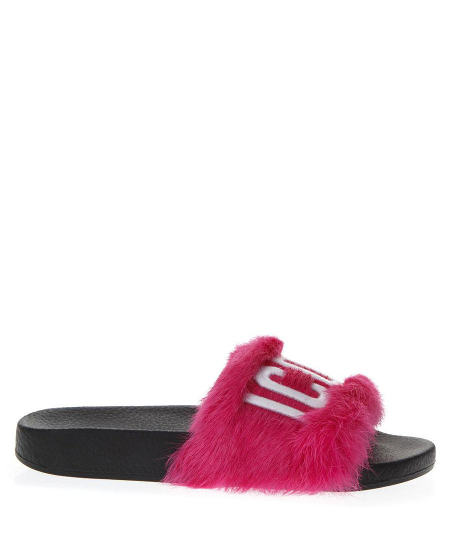Pink faux-fur icon logo slides Sale - dsquared2