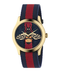 Blue & red stainless steel watch