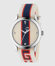 Blue & white leather logo watch