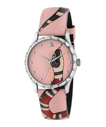 Pink leather snake print watch
