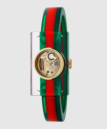Green & red translucent narrow watch